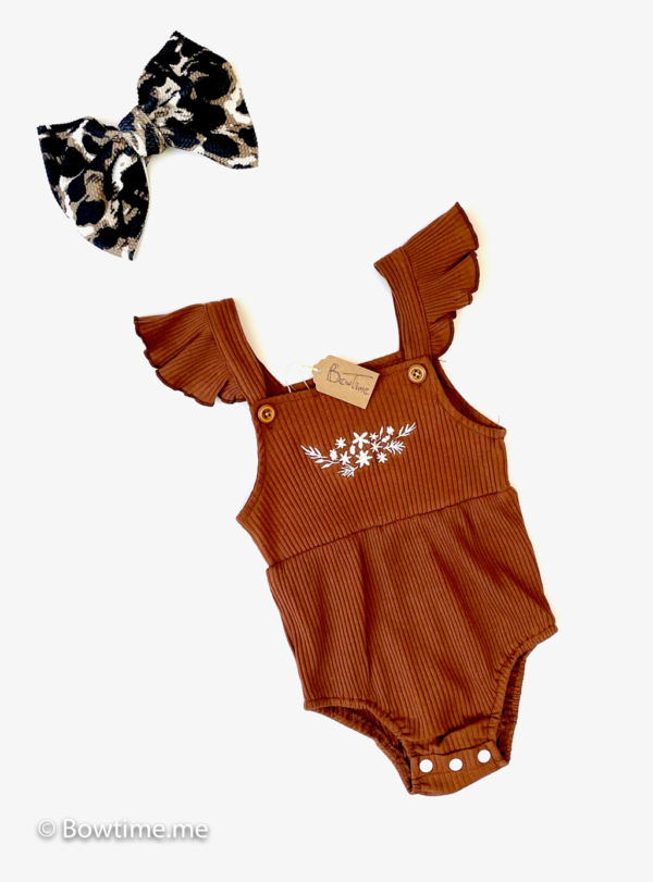 bowtime simple romper gingerbread