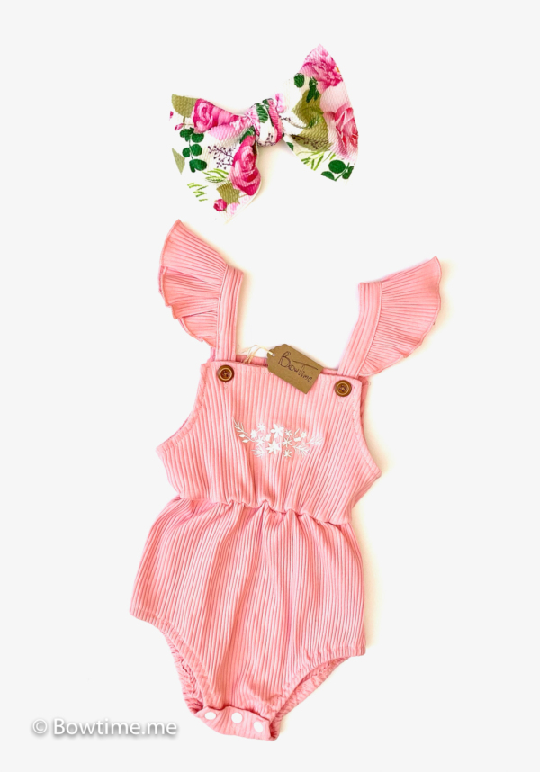 bowtime simple romper pink